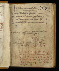 List Of Contents And St. Albans Pressmark, In Prudentius's 'Conflict Of The Soul'